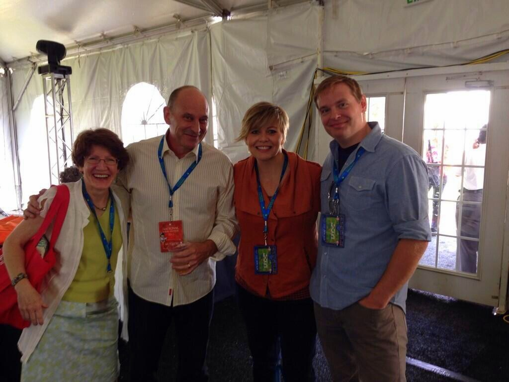 Kathryn Erskine, Jon Scieszka, Lisa McMann, and me